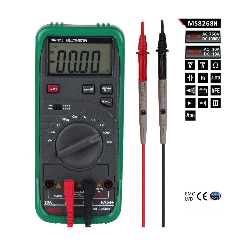 Aimómetro MS8268N multímetro de rango automático AC DC voltaje de corriente Ohm capacitancia medidor de frecuencia Digital DMM