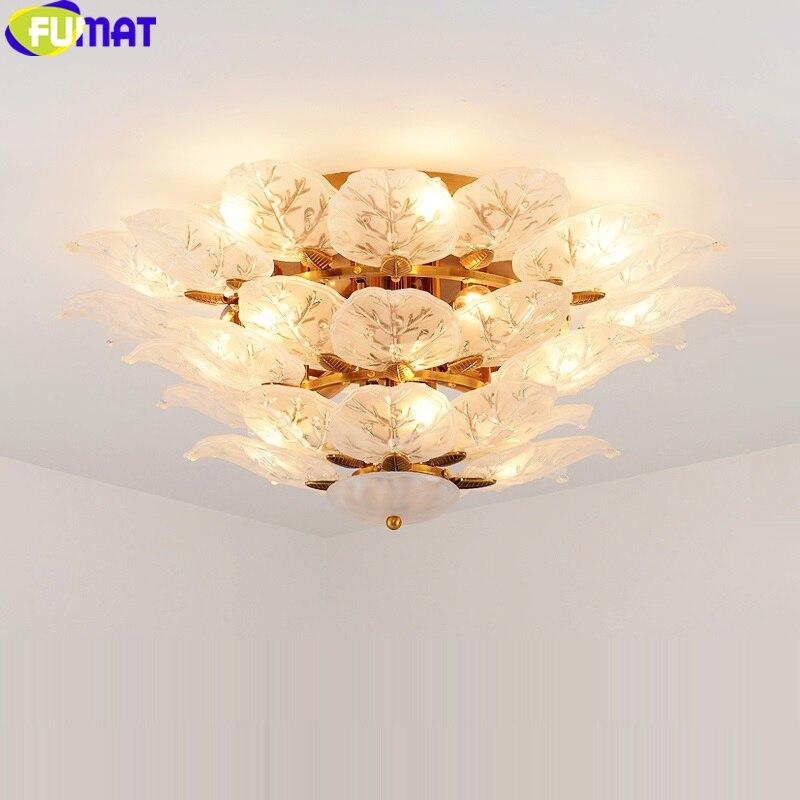 FUMAT marco dorado vidrio esmerilado Pentant lámparas oro lámpara de techo hojas de té colgante accesorio de Luz Decoración de lujo sala de estar