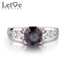Leige المجوهرات اللون تغيير مختبر الالكسندريت خواتم الخطبة كلاسيكي gemstone شكل مثمن التصميم الفريد ل girlfirend