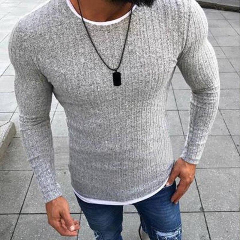Мужской трикотажный свитер, с длинным рукавом и о-вырезом, теплый, зимний, 2018