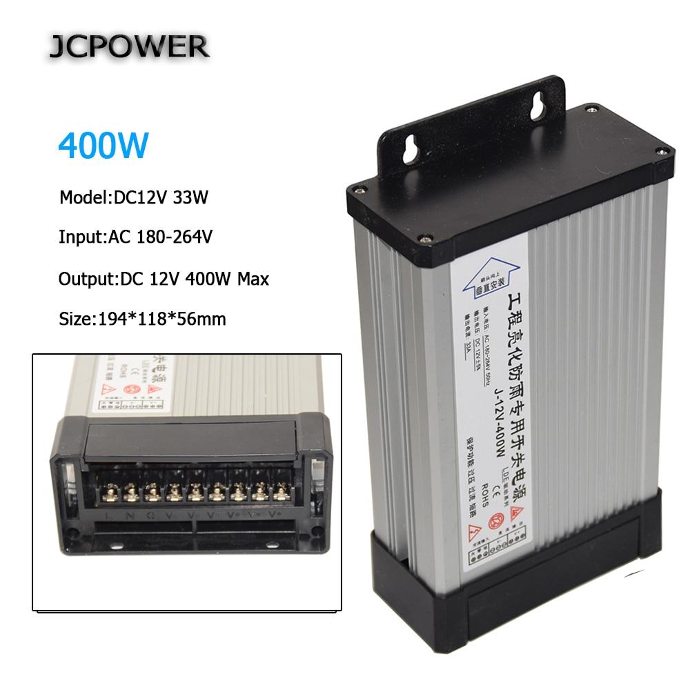 Fuente de alimentación LED impermeable para exteriores DC12V 33A 400W AC220V adaptador de Controlador LED transformadores de iluminación transformador de voltaje