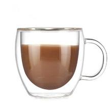 Tasses à café de 250ml 150ml   Ensemble de tasses à thé, tasses de bureau créatives à la main, isolation thermique, tasses transparentes, tasses à Double verre