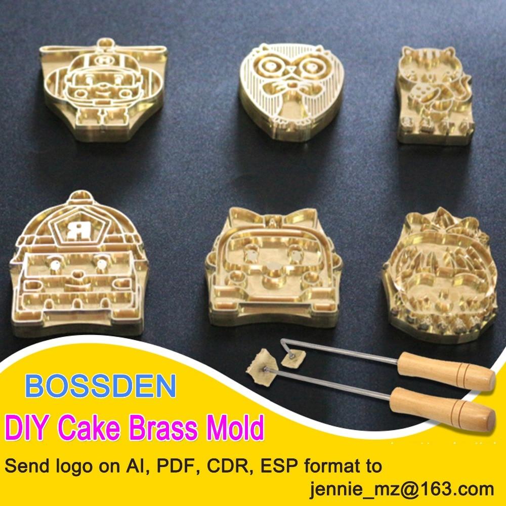 BOSSDEN Brass Stamping Machine Mold CNC Engraving Stamp Hot Foil Stamping Leather Bronzing Die Cut Cake Marks Stamper Brand