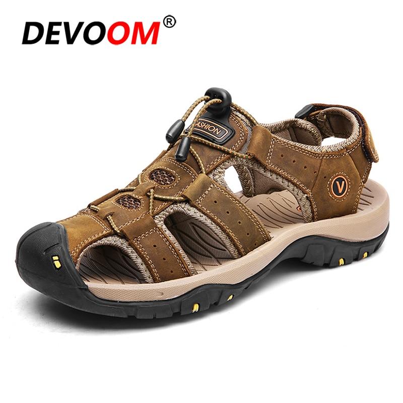 2018 moda de hombre sandalias de verano de cuero genuino de los hombres de camino al aire libre zapatos de agua zapatos 3 capa de hombres Melbo oficial pescador sandalias