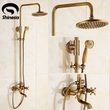 Newly Vintage Antique Brass Shower Faucet Set Rainfall Shower Head W/ Ceramics Hand Showe Retro Wall Mount Luxury Shower Set