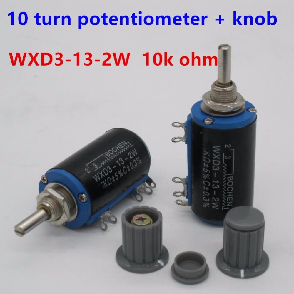 2 pcs Shaft Dia WXD3-13-2W 10 k ohm Rotary Multiturn Potenciômetro lateral 10 gire o potenciômetro 10 potenciômetro anel + 2 pcs knob