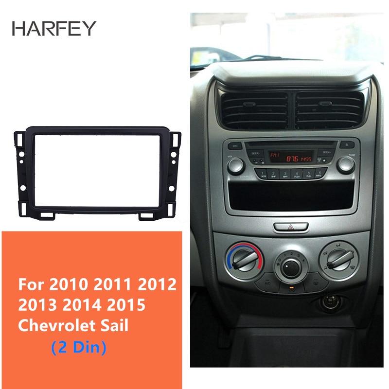 Harfey Car Radio Fascia 2Din Frame Trim Kit for Chevrolet Sail 2010-2015 Fame DVD Stereo Refit Panel Dashboard Modified Install