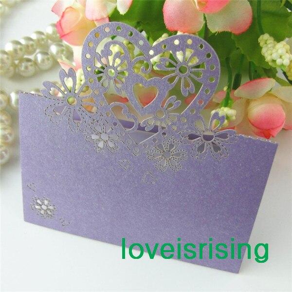 Gratis Shipping-50pcs Color lavanda corte láser tarjetas de lugar tarjetas de nombre de boda para decoración de mesa de fiesta de boda-7 colores U A