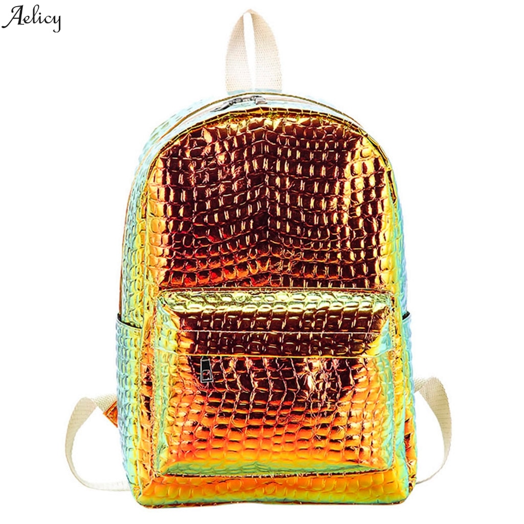 Novo zíper retalhos de alta qualidade mini sólida saco moda feminina saco escola a laser mochila padrão pedra menina viagem ombro