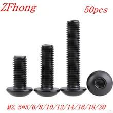 Vis à bouton hexagonal noir   Acier allié, niveau 2.5 M2.5 10.9mm ISO7380 vis à tête hexagonale pour meubles bouchon de champignon, boulons hexagonaux 50 pièces