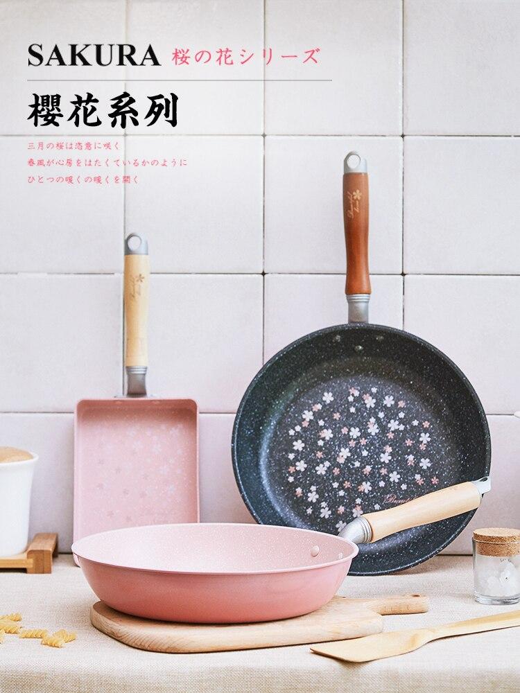 Sakura japonés no sartén filete pan cherry blossom tamagoyaki olla de cocina de inducción Rosa plancha grill huevo pan