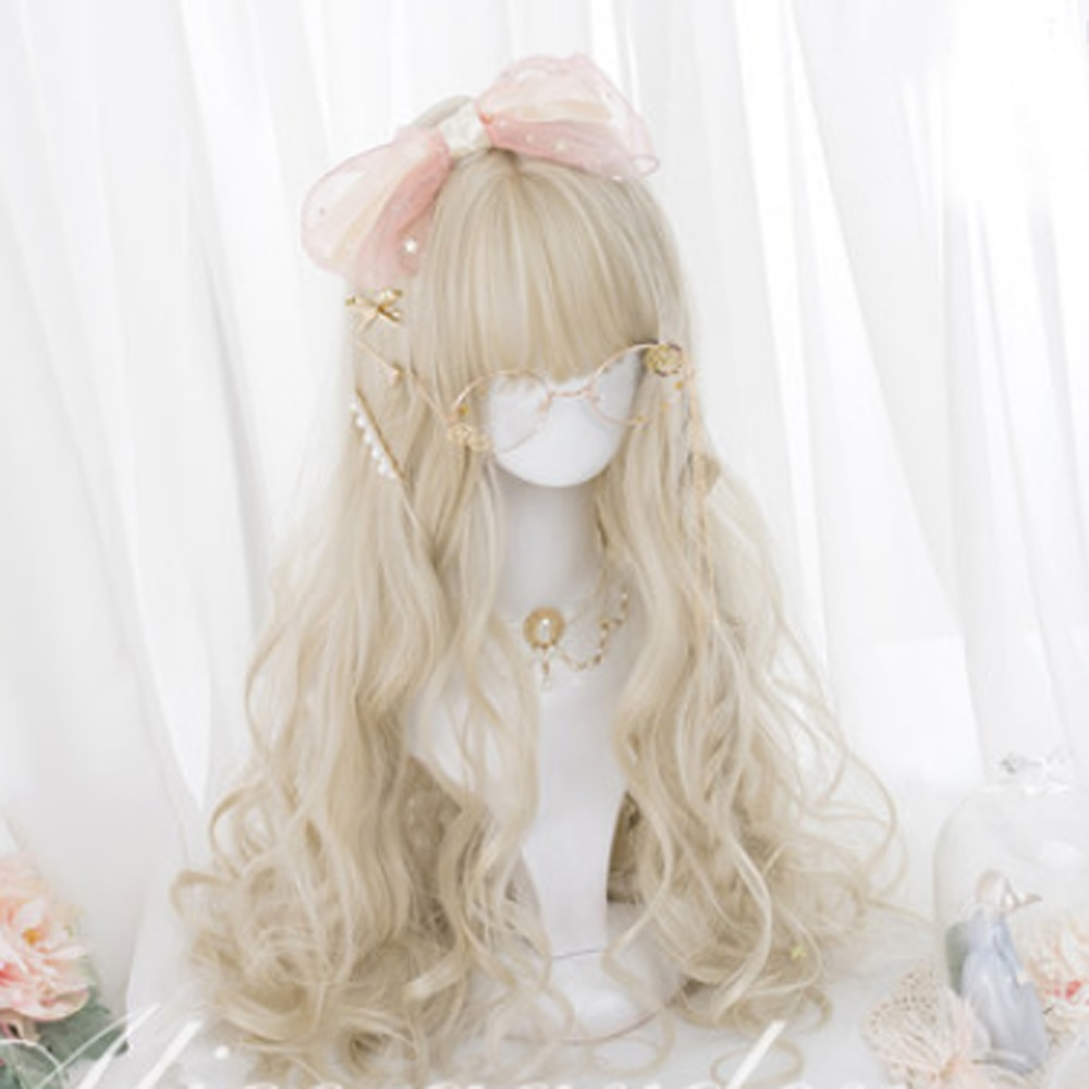 Cosplaysalon H762440 Lolita 60CM rizado largo flequillo Rubio lindo sintético partido señora Cosplay Peluca de pelo + gorra
