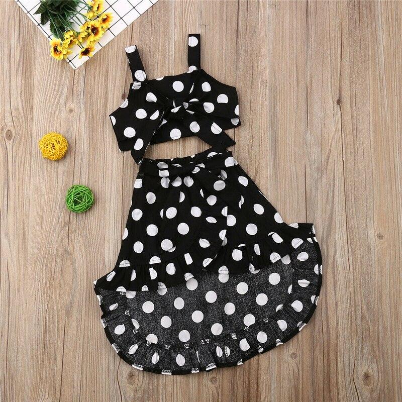 Kids Baby Girls Polka Dot Clothes Sets Vintage Sling Bow Vest Crop Tops Irregular Lace-up Skirts 2Pcs Girl Summer Outfits 1-6Y