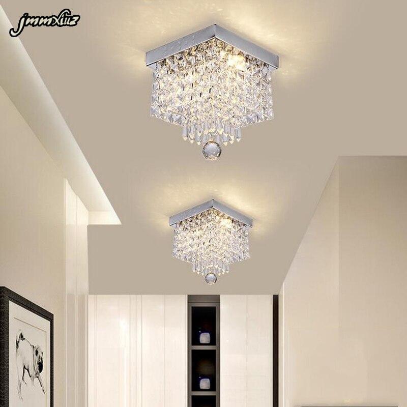 Jmmxiuz-مصباح سقف كريستالي Led ، مصباح سقف مربع ، ضوء زخرفي ، مثالي للممر ، السلالم ، المدخل