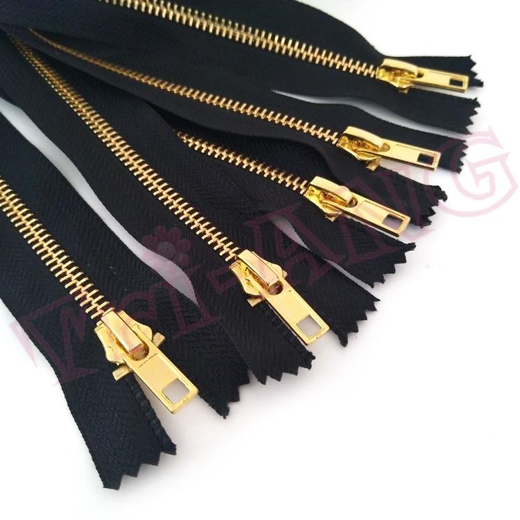 10 unids/lote, 20cm y 60cm de longitud, cierre 5 # Color dorado, cremallera metálica de latón