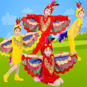 Rainbow Bird Costumes for Children Stage phoenix Magpie Perform Cosplay Clothes Colorful Birds Stage Show Play Wear Clothing