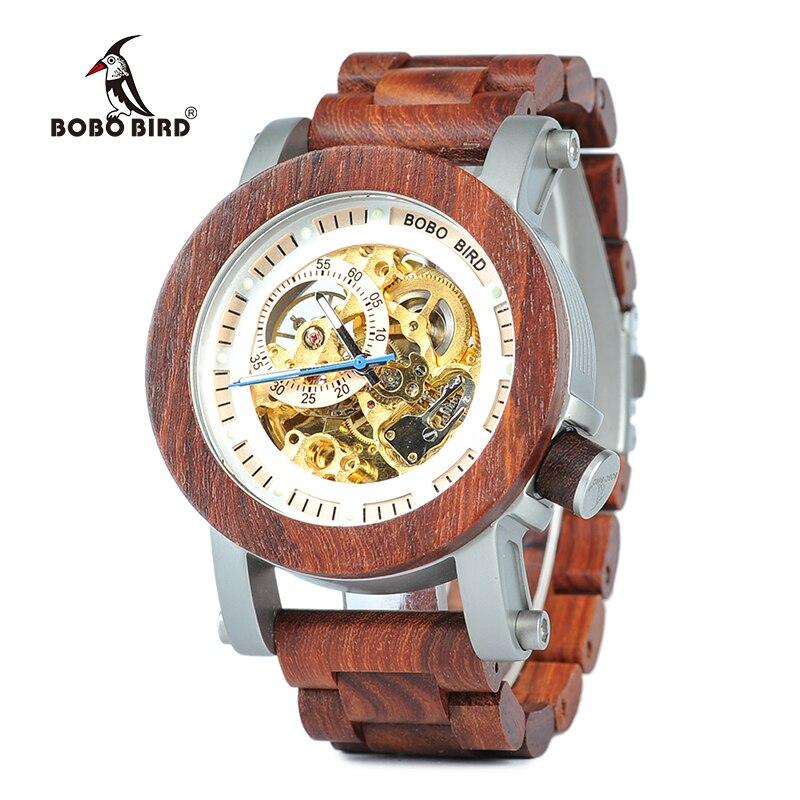 BOBO BIRD Wooden Watches Men Semi-automatic Waterproof Mechanical Wristwatch Mens forsining in Gift Wood Box enlarge