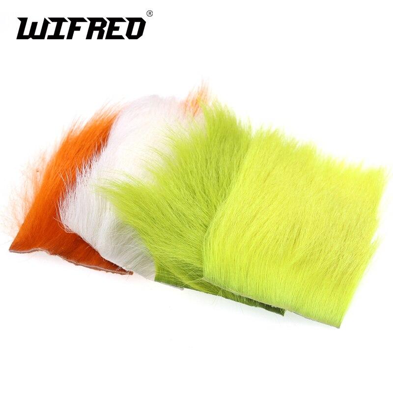 Wifreo, 1 pieza, 6x6 cm, Parche de pelo atado de moscas para Mosca de paracaídas, Mini Plantilla de Bucktail StreamersTying, parche de piel Chartreuse, naranja, blanco, amarillo
