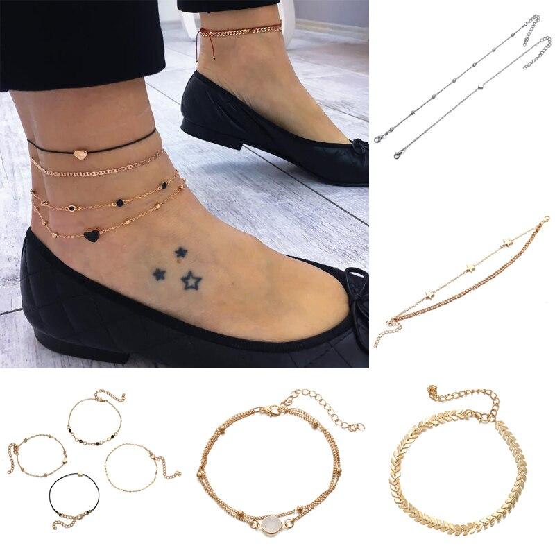 Pulsera de tobillo de acero inoxidable cadena de oro plateado para mujer pulsera de tobillo de cinco estrellas con colgante de joyería de verano