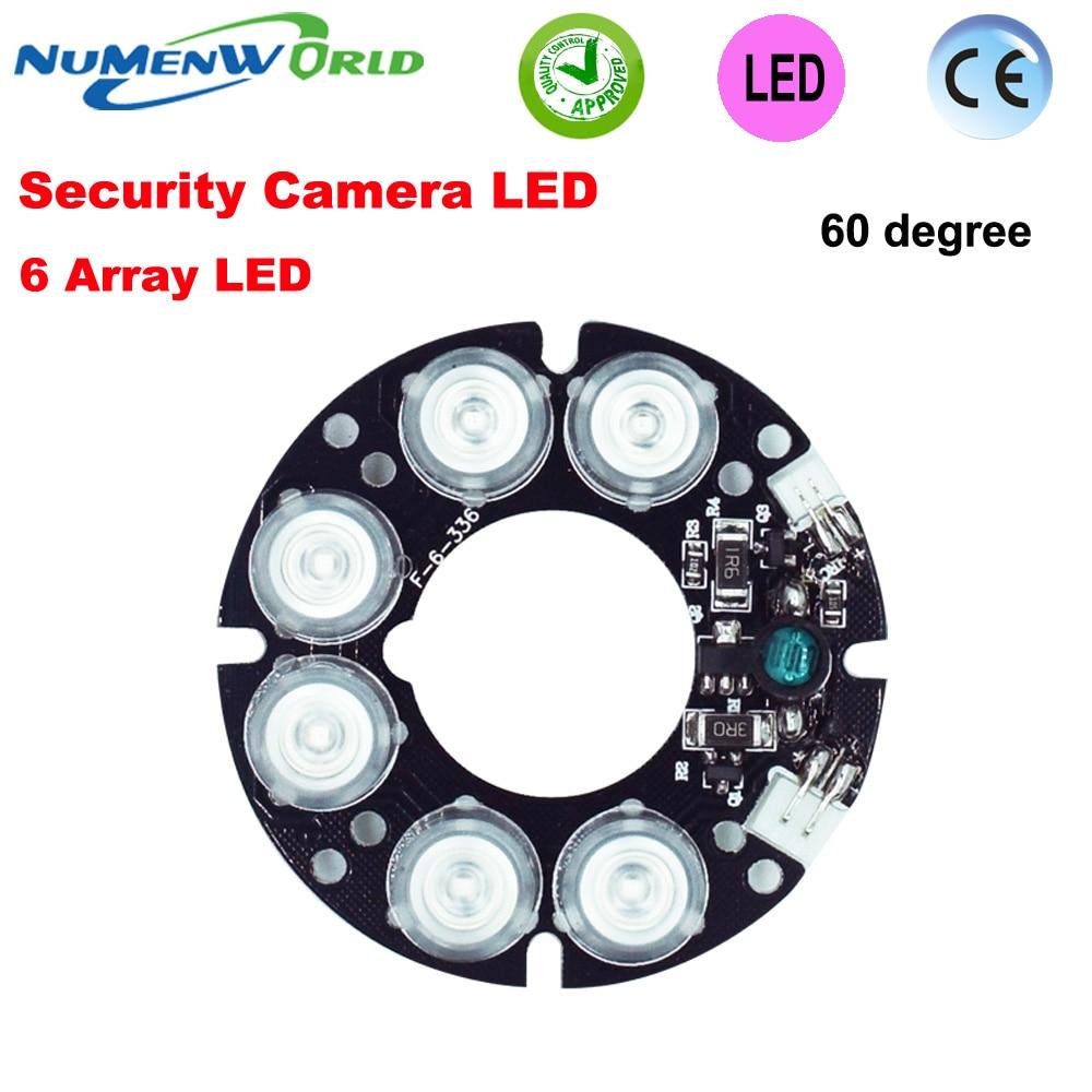 Placa de luz infrarroja de 60 grados de placa de LED IR de 6 matriz de buena calidad de fiebre baja sistema de cámaras de CCTV