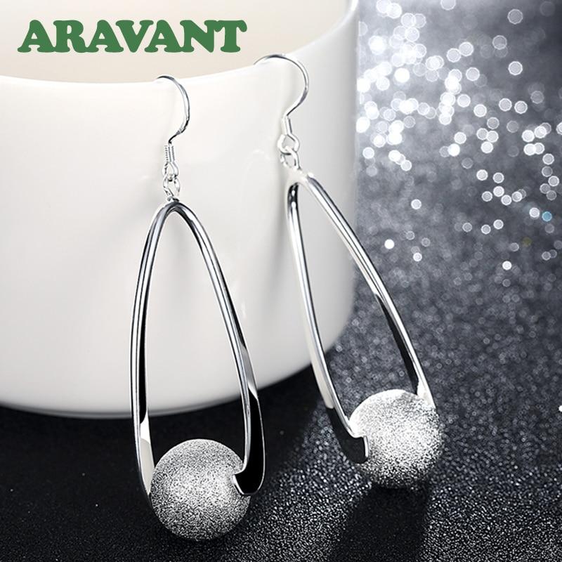 Серебро 925 ювелирные изделия серьги длинные шлифовальные шарики серьги для женщин Свадебные модные ювелирные изделия