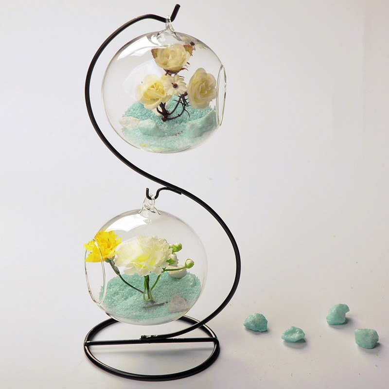 Fashion double layer hanging transparent glass vase decoration fashion hydroponic flower modern