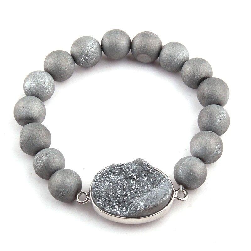 Free Shipping Energy Bracelets Made 10mm Natural Stone Bead Druzy Bracelet