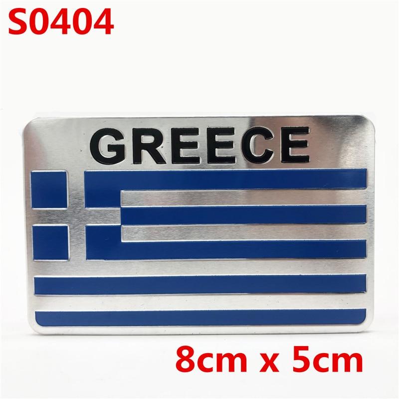 Bandera griega de aluminio, emblema de coche, insignia, decoraciones, pegatina de guardabarros, accesorios para Yamaha Honda Kawasaki KTM BMW Suzuji