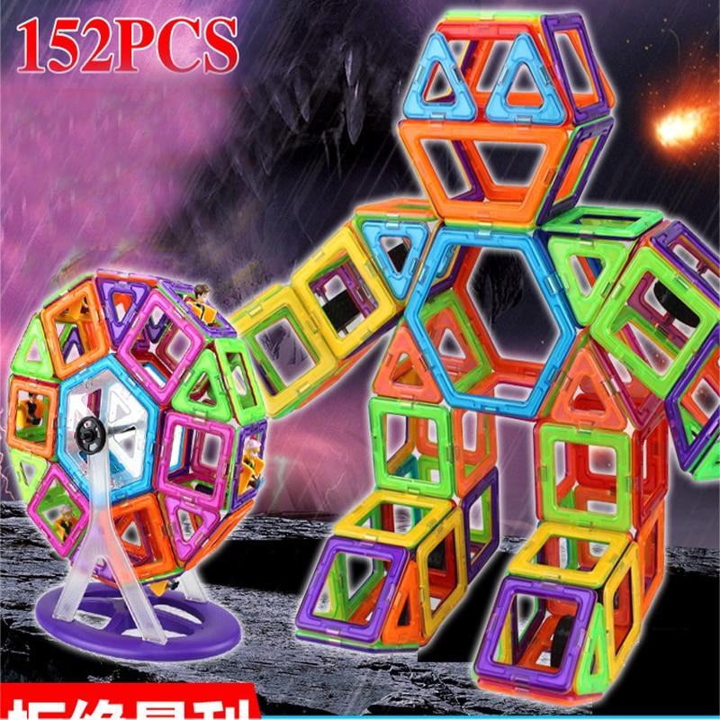 152pcs/Set Magnetic Blocks Enlighten DIY Toy Model Magnetic Designer Plastic Building Blocks for Kids