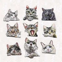 new arrival 1 piece small cute animal iron on patch embroidered good quality pocket cat patches sticker clothing diy