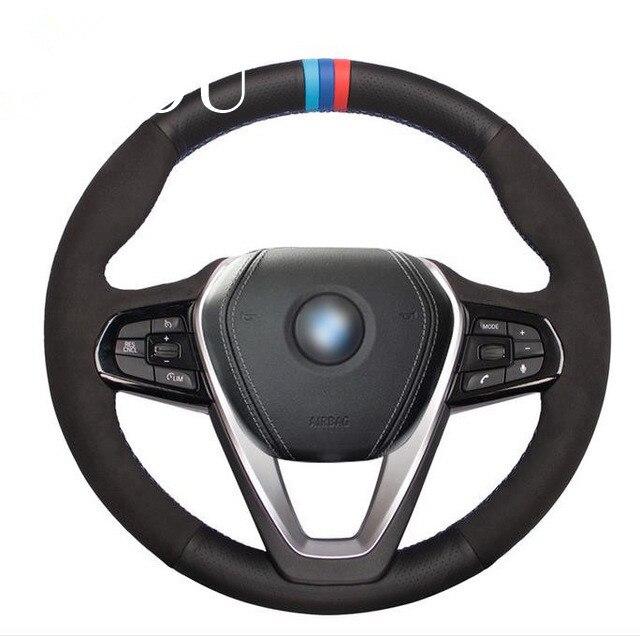 Puou Tommia negro de gamuza de cuero genuino protector para volante de coche para BMW G30 530i 540i 520d 530e 2016-2018 G32 GT 630i 630d 2017