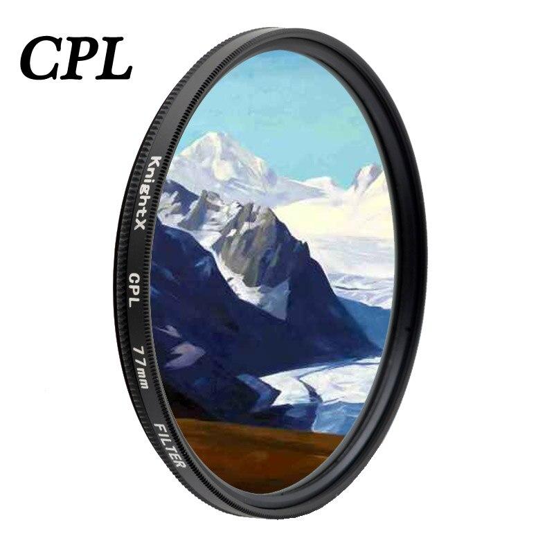 KnightX CPL Filtro de polarización para canon eos sony nikon18-200 60d d5300 d600 color 1300d d5100 49mm 52mm 55mm 62mm 67mm 72mm 77mm