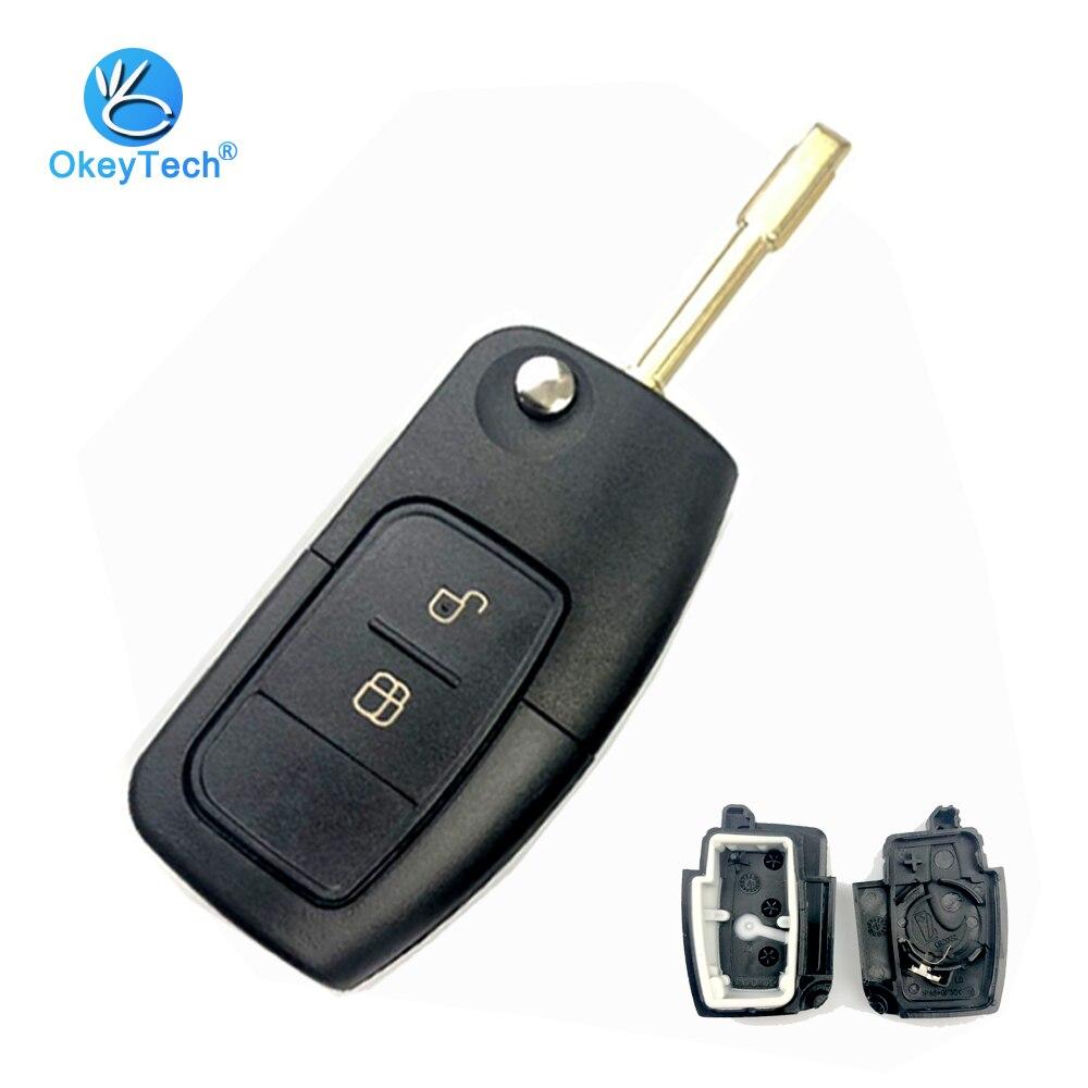 OkeyTech Flip Auto Schlüssel Shell für Ford Focus Mk2 Mk3 Mk4 2 Fiesta Mondeo Ranger Fusion S Max 2 Taste FO21 HU101Blade