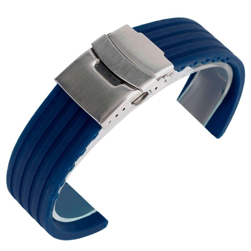 Ремешок для часов 20/22/24 мм, синий силиконовый сменный Водонепроницаемый Военный Спортивный мягкий браслет