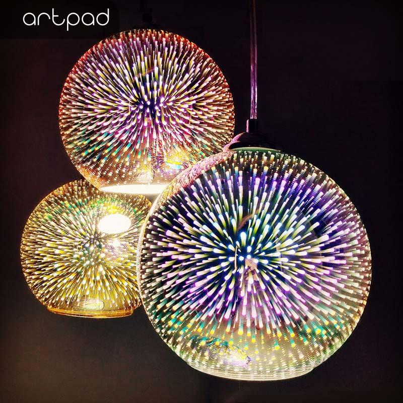 الحديث الإبداعية ثلاثية الأبعاد الألعاب النارية تأثير قلادة تركيب المصابيح مع E27 لمبة لغرفة النوم بار KTV المطبخ كرة ديسكو مصباح معلق Led