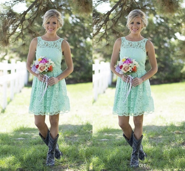 Country Style Mint Green Bruidsmeisje Jurken Korte Kant Formele Voor Junior En Volwassen Boven Lengte Bruiloft Gast
