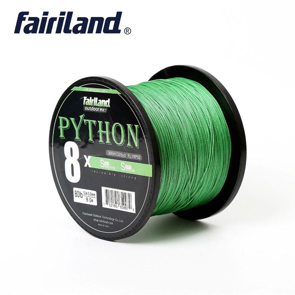 Fairiland 300m 100% PE sedal de pesca 8X tejidos trenzados sedal de agua dulce 21-80 lb/cuerda de alambre de pesca multifilamento de agua salada