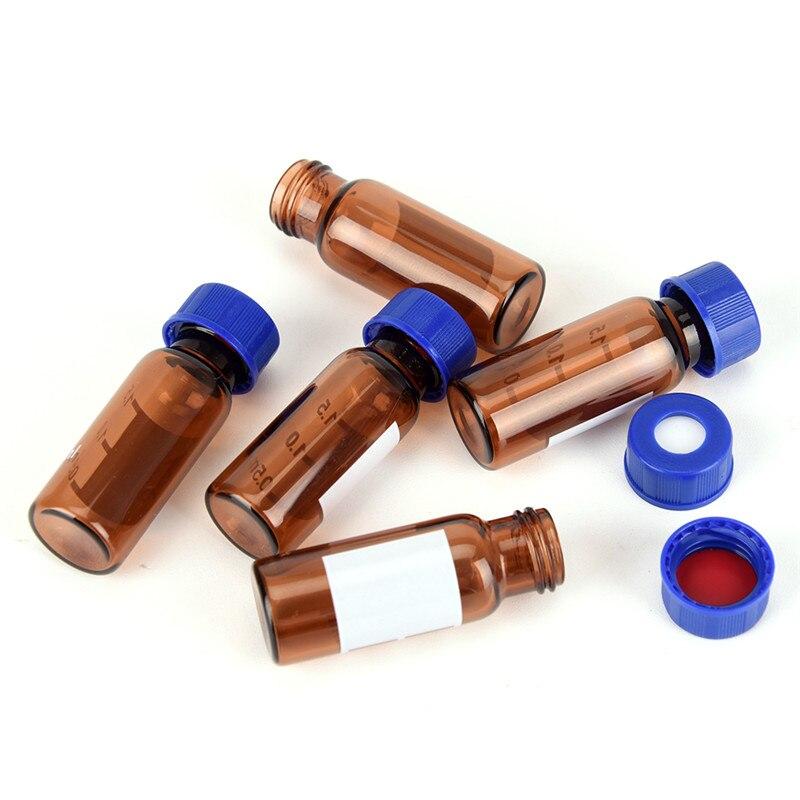 5 uds 2ml tapa de plástico marrón botella de reactivo de vidrio redondo graduado tapa de tornillo azul en la cubierta frascos de muestra de Graduación