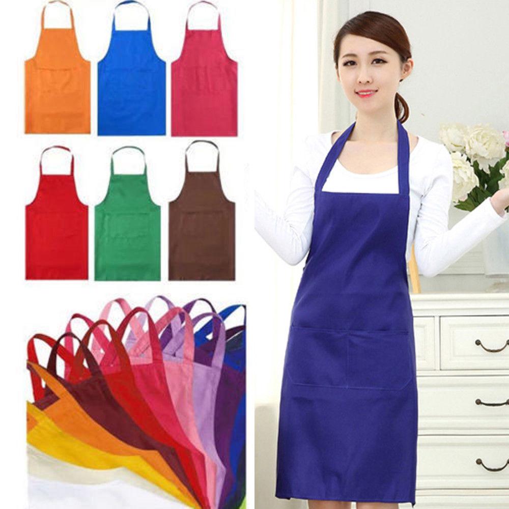 Verdicken Baumwolle Polyester Mischung Anti-tragen Kochen Küche Bib Schürze Mit Taschen Schwarz Blau Grün Rot Einstellbare Bib Schürze kleid