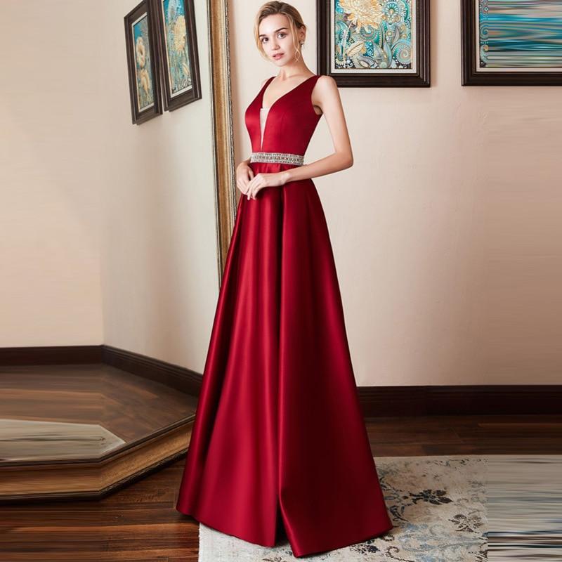 Sexy V Neck Evening Party Dress Women Long Ever Pretty Elegant Formal Maxi Ball Gown Navy Blue Red Sleeveless Vestido De Festa
