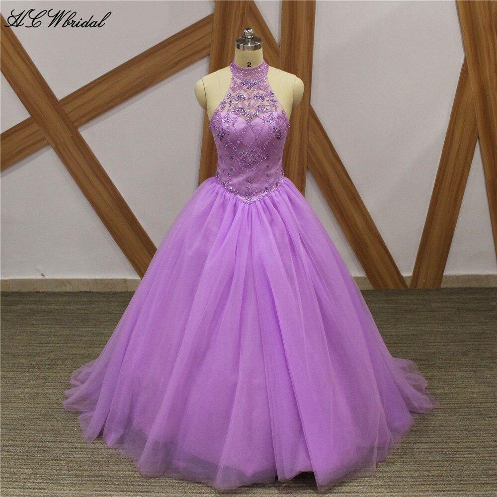 Vestidos de princesa lavanda para quinceañera, lo más nuevo, cuentas exquisitas, cristales, tul hinchado, cuello alto, dulces, 16 niñas, vestido de fiesta barato