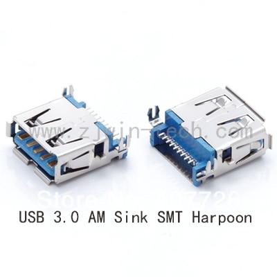 10 Uds USB 3,0 conector hembra para ordenador portátil hembra Jack PCB montaje fregadero SMT