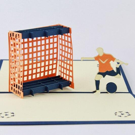 Giocatore di calcio cartolina Di Natale/3D kirigami carte/carte regalo biglietto di auguri fatti a mano per gli uomini Spedizione gratuita