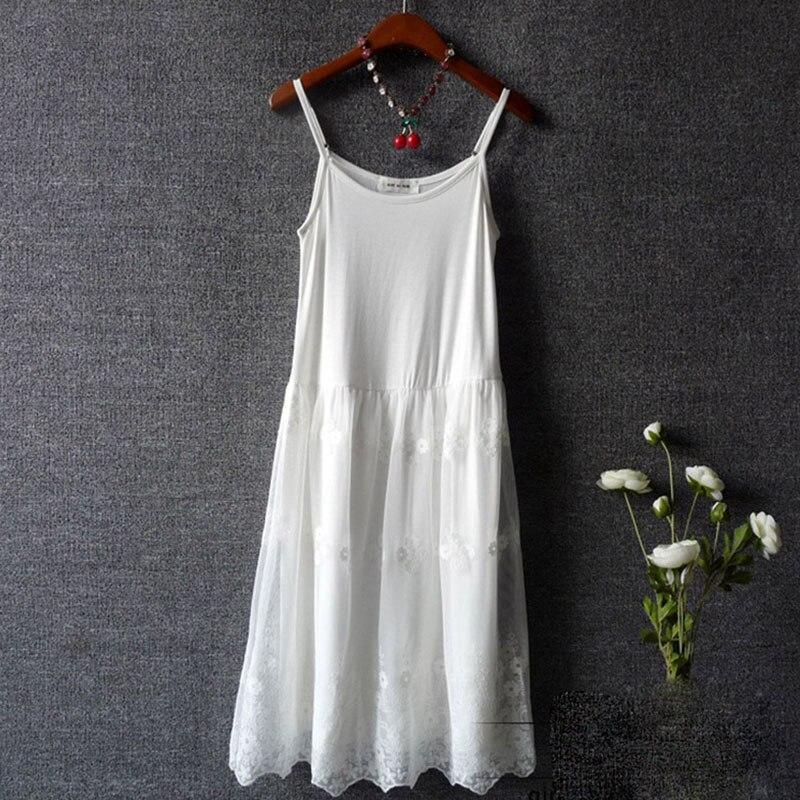 Verano niña Mori floral bordado vestido modal mujeres negro blanco sin mangas ahueca hacia fuera la correa de encaje elegante vestido coreano U517