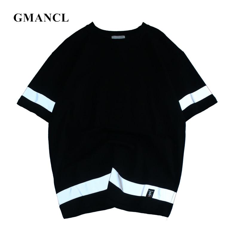 Man 3m reflective Night shiny stripes Summer short sleeve  Casual T Shirts oversized Hip hop Skateboard Workwear Tshirts tee