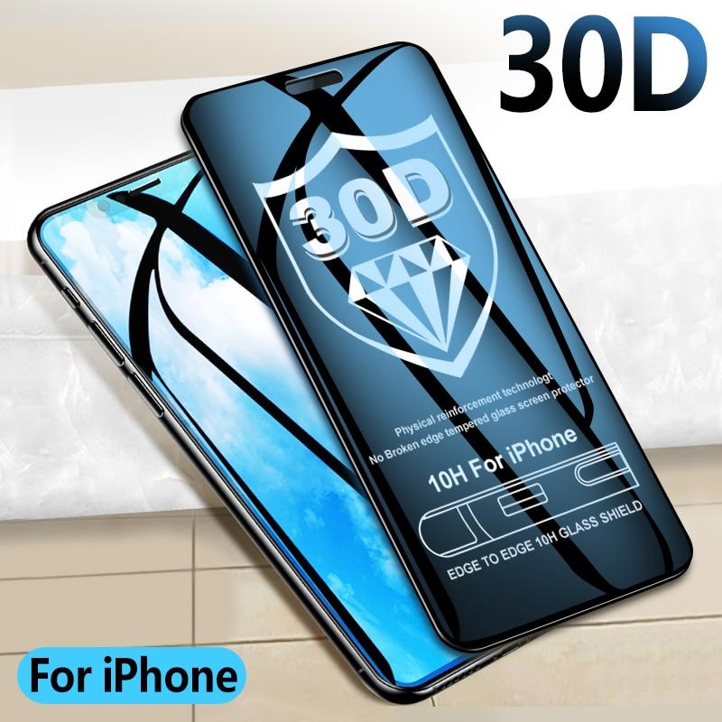 30D Защитное стекло для iPhone X XR XS MAX, полное покрытие для iPhone 8 7 6 6 s, Защитное стекло для экрана на iPhone 11 Pro Max