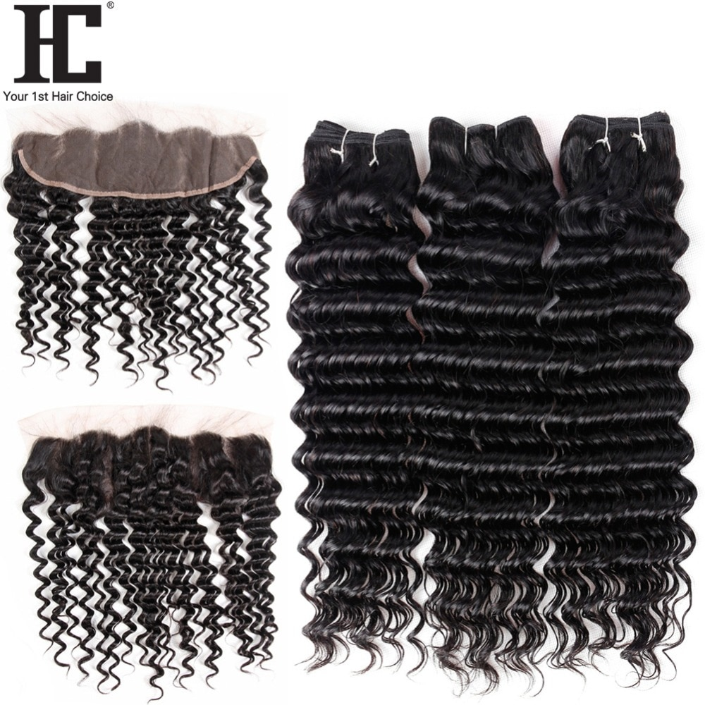 HC Hair Loose Deep Wave Lace Frontal Closure With Bundles Mongolian Hair 3 Bundles Human Hair Weave With Pre Plucked Frontal