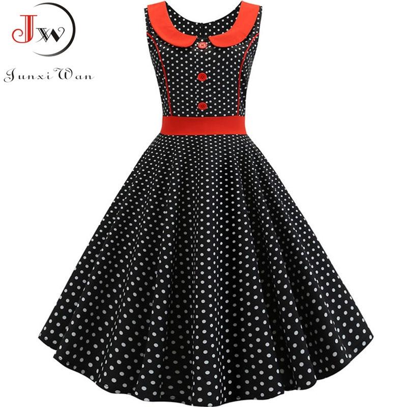 Женское винтажное платье в черный горошек, с принтом, лето 2019, ретро 50s 60s, вечернее платье рокабилли, платье большого размера