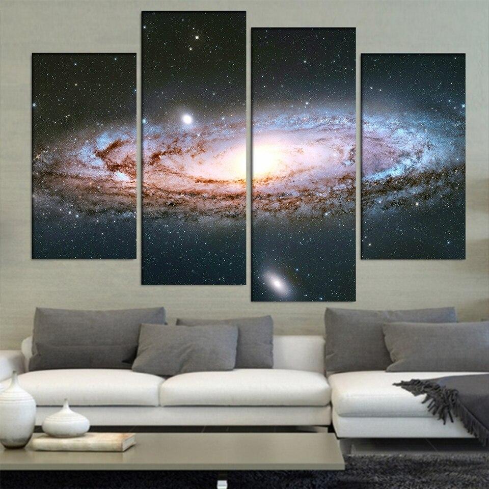 Cuadro de arte de pared decoración del hogar Poster marco 4 piezas Andrómeda Galaxy cielo estrellado paisaje abstracto impresión moderna HD lienzo pintura