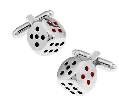 Männer Geschenk Würfel Manschettenknöpfe Großhandel & einzelhandel Silber Farbe Kupfer Material Neuheit Casino Würfel Design
